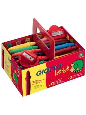 Schoolpack ceras irrompibles Giotto be-bé  mas 2 Sacapuntas colores surtidos