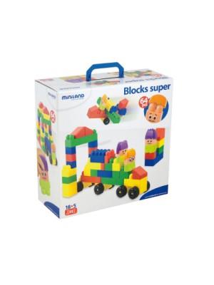 Maleta 64 piezas blocks super con personajes