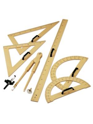 Set material pizarra incluido, escuadra, cartabón, semicirculo, compas y regla