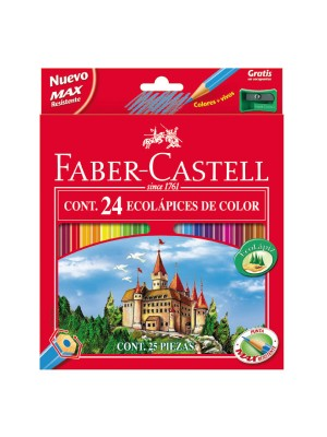 Estuche 24 lápices ecolápices de color con forma hexagonal Faber-Castell colores surtidos