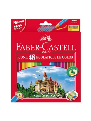 Estuche 48 lápices ecolápices de color con forma hexagonal Faber-Castell colores surtidos
