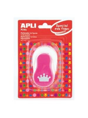 Perforadora de goma eva Apli con forma de corona color rosa