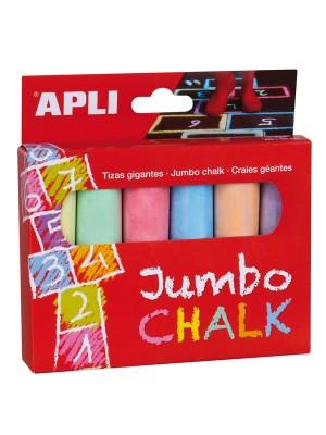 Caja 6 tizas redondas Jumbo Apli colores surtidos