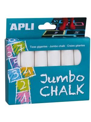 Caja 6 tizas redondas Jumbo Apli color blanco