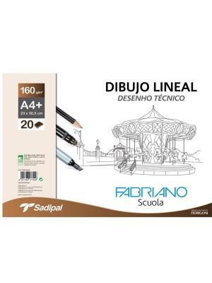 Sobre de papel de dibujo lineal Fabriano 10h liso A3