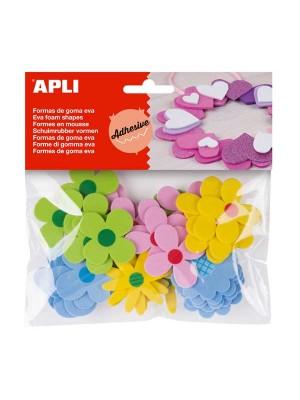 Bolsa 40 formas adhesivas goma eva Apli Flores