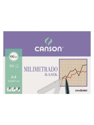 Bloc encolado papel milimetrado Canson Basik 50h 100g A4