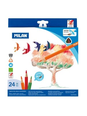 Estuche 24 lápices de color acuarelables triangulares Milan colores surtidos