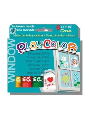 Estuche 6 témpera sólida Playcolor One Window colores surtidos