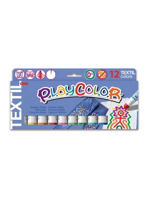 Estuche 12 témpera sólida Playcolor One Textil colores surtidos