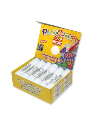 Estuche 12 témperas sólidas Playcolor One Basic blanco
