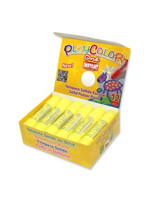 Caja 12 témperas sólidas Playcolor One Basic amarillo