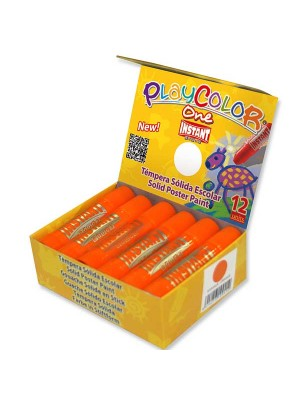 Caja 12 témperas sólidas Playcolor One Basic naranja