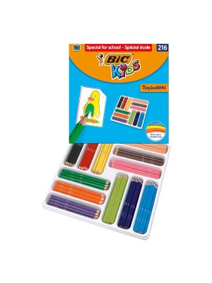 Caja School Pack 216 lápices de colores Bic Tropicolors colores surtidos