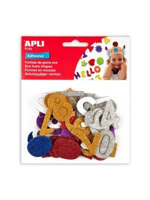 Bolsa 50 formas adhesivas goma eva Apli Números purpurina