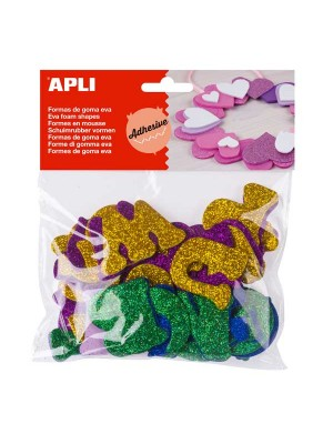 Bolsa 52 formas adhesivas goma eva Apli Letras purpurina
