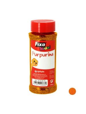Bote 100g purpurina Fixo kids naranja flúor