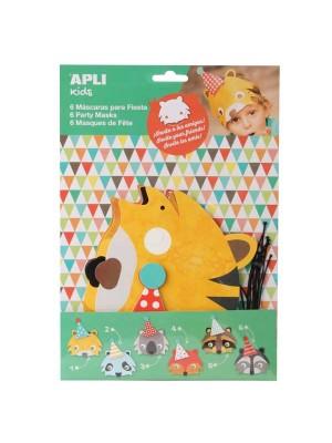 Bolsa 6 máscaras cartón Apli animales