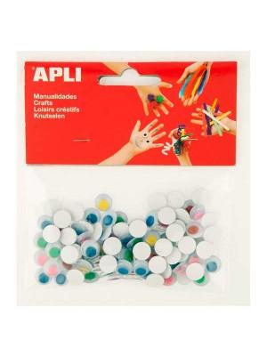 Bolsa 100 ojos móviles adhesivos redondos Apli color