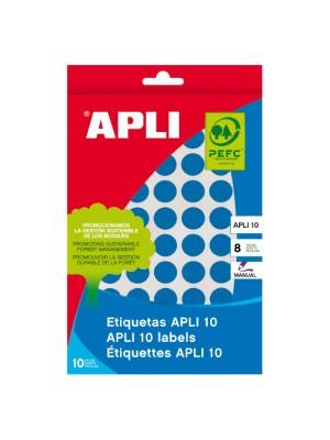 Pack 8h. etiquetas Apli escritura manual ø 19mm. 320 etiquetas Azul