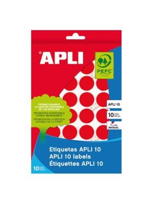 Pack 8h. etiquetas Apli escritura manual ø 19mm. 320 etiquetas Rojo