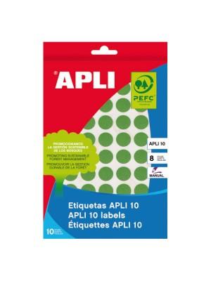 Pack 8h. etiquetas Apli escritura manual color redondas 13mm. 616 etiquetas Verde