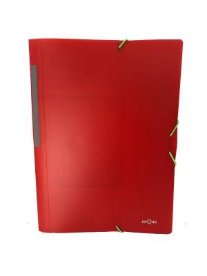 Carpeta Dequa PP translúcido. Con gomas y 3 solapas Folio Rojo