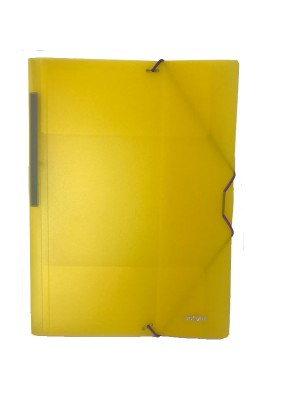 Carpeta Dequa PP translúcido. Con gomas y 3 solapas Folio Amarillo
