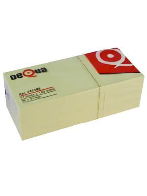 Pack 12 blocs notas Dequa 38x51mm.100h. Amarillo
