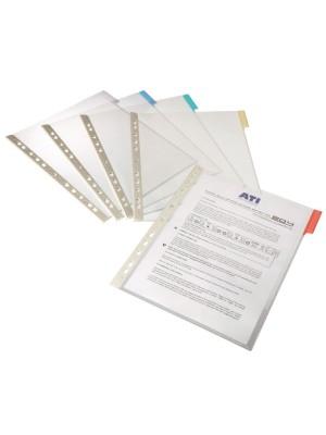 Fundas multitaladro para clasificador Function con pestaña de color A4 Pack 5 fundas. Amarillo