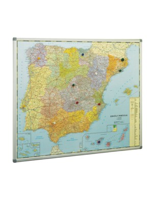 Mapa de España y Portugal Faibo marco de aluminio. Fondo metálico para utilizar imanes. 103x129cm.