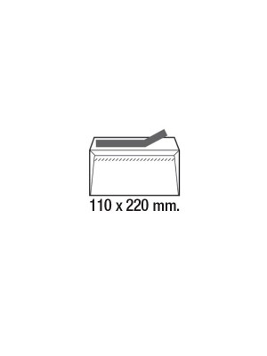 Caja 500 sobres 90g. Cierre tira de silicona DL 110x220mm. Ventana derecha Blanco