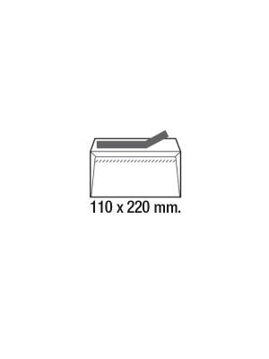 Caja 500 sobres 90g. Cierre tira de silicona DL 110x220mm. Ventana izquierda Blanco
