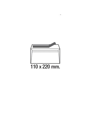 Caja 500 sobres 90g. Cierre tira de silicona especial láser DL 110x220mm. Ventana derecha Blanco