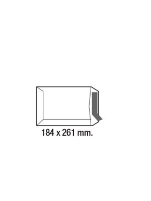 Caja 250 bolsas 80g. Cuarto prolongado 184x261mm. Kraft verjurado