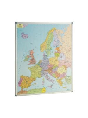 Mapa de Europa Faibo marco de aluminio. Fondo metálico para utilizar imanes. 93x119cm.