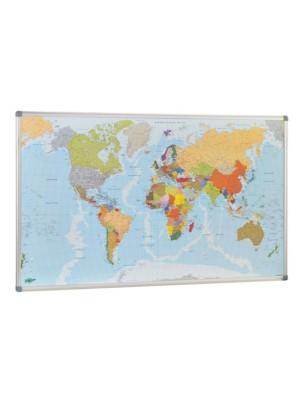 Mapamundi Faibo marco de aluminio. Fondo metálico para utilizar imanes. 84x140cm.