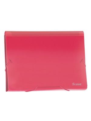 Clasificador acordeón Dohe 13 departamentos Cierre gomas A4 apaisado Rojo translúcido