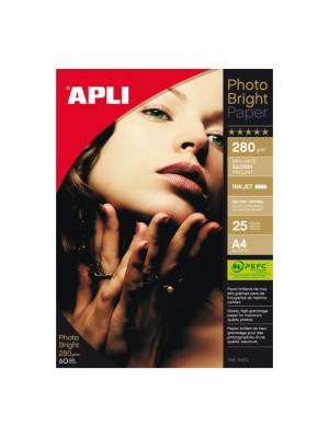 Papel fotográfico brillo Apli Ph.oto Brigh.t PRO 280g. A4 25h.