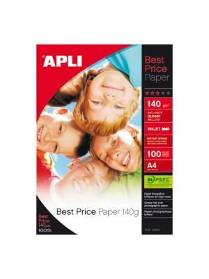 Papel fotográfico brillo Apli Best Price 140g. A4 glossy 100h.