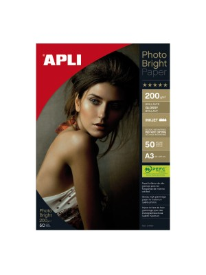 Papel fotográfico brillo Apli Photo Bright A3 200g. 25h.