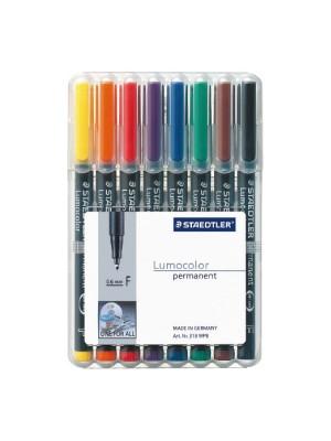 Estuche de 8 rotuladores Lumocolor surtidos F 0.6mm