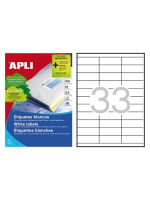 Caja 100h. etiquetas Apli para inkjet, láser y fotocopiadora. Cantos rectos70X25,4mm. 3300 etiquetas