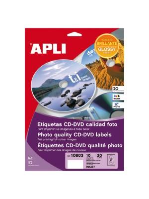 Pack 10h. etiquetas Apli CD-DVD para inkjet color. Acabado glossy. 20 etiquetas