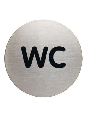 """Señal Durable """" WC"""" acero inoxidable ø 83mm."""