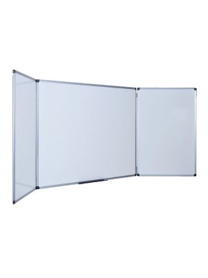Pizarra tríptica blanca con superficie de acero vitrificado magnética
