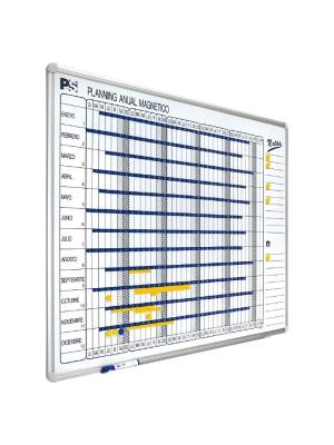 Planning anual marco de aluminio Planning Sisplamo 1 año día a día. Incluye cajetín para rotuladores. 90x120cm.
