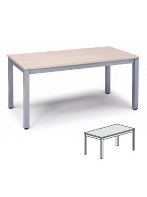 Mesa rectangular 120x60x72-77cm aluminio/haya
