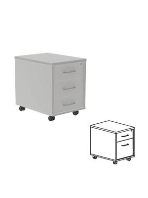 Buck móvil de 1 cajón + 1 cajón archivo Aluminio/gris