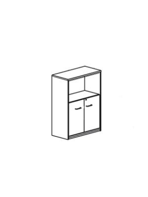 Armario puertas bajas Serie Premier 181x42x80cm. Incluye 4 estantes.  Blanco/Blanco